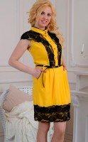 Желтое платье из хлопка и кружева