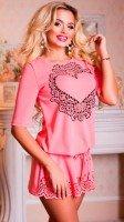 Романтичная розовая ажурная туника
