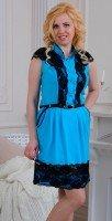 Бирюзовое платье из хлопка и кружева