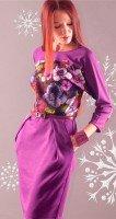Платье трикотажное Весенние цветы