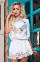 Романтичная белая ажурная туника
