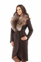 Пальто зимнее из кашемира с натуральным мехом