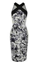 Черно-белое платье с цветочным принтом