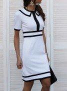 Платье трикотажное белое с отделкой