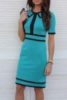 Платье трикотажное бирюзовое с отделкой