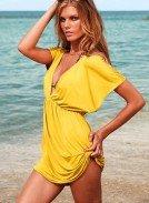Платье короткое для пляжа желтого цвета