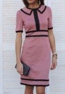 Платье трикотажное цвета какао с отделкой