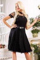Платье черное кружевное с расклешенной юбкой