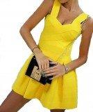 Бандажное платье желтого цвета