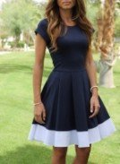 Платье темно-синее с белой отделкой