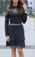 Платье черное трикотажное с воланами