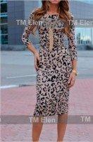 Платье облегающее в леопардовой расцветке