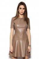 Платье бежевое из итальянской эко-кожи