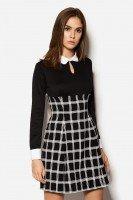 Стильное комбинированное платье в клетку