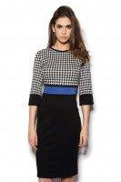 Платье комбинированное с синей полосой
