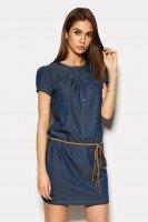 Платье летнее коттон-джинс под пояс