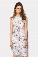 Платье молочного цвета с принтом магнолия