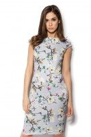 Платье серое с принтом магнолии
