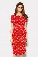 Платье красное в горох с воланом