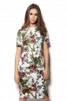 Платье белое с цветочным принтом