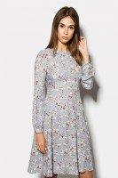 Платье светло-серое с цветочным рисунком