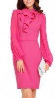 Розовое шелковое платье с жабо Jones New York