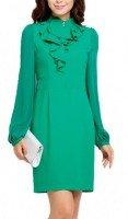 Зеленое шелковое платье с жабо Jones New York